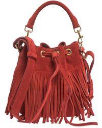 Saint Laurent Saint Laurent Red Suede Small Emmanuelle Fringed Bucket Bag