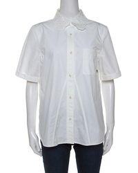 Louis Vuitton White Cotton Embroidered Collar Short Sleeve Shirt L