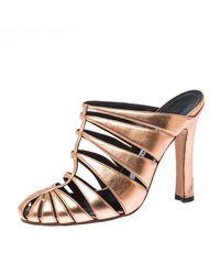 Manolo Blahnik Metallic Rose Gold Lasercut Leather Mule Sandals