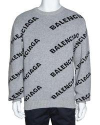 Balenciaga Grey Wool Blend Allover Logo Crew Neck Jumper