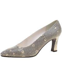 Stuart Weitzman Two Tone Lizard Leather Court Shoes Size 38.5 - Natural