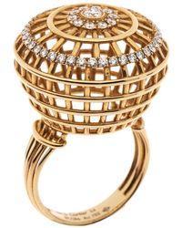 Cartier Paris Nouvelle Vague Diamond 18k Rose Gold Cocktail Ring Size 54 - Metallic