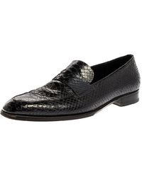 Dior Black Python Leather Penny Loafers