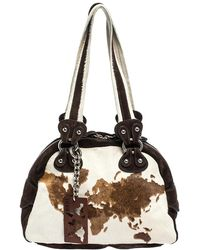 Alviero Martini 1A Classe Beige/brown Calfhair And Suede Satchel - Natural