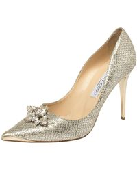 Jimmy Choo Miu Miu Silver Glitter Crystal Embellished Pointed Toe Pumps - Gray