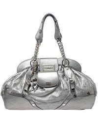 Versace Metallic Silver Leather Chain Link Satchel