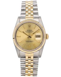 Rolex Champagne 18k Yellow Gold And Stainless Steel Datejust 16233 Wristwatch 36 Mm - Metallic
