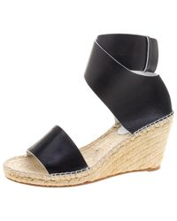 Céline - Leather Espadrille Wedge Sandals - Lyst