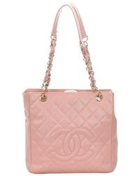 Chanel Pink Caviar Leather Petite Shopping Tote Bag