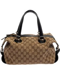 Gucci Brown/black GG Canvas And Patent Leather Satchel - Natural