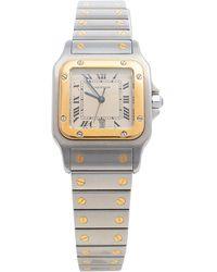 Cartier Cream 18k Yellow Gold And Stainless Steel Santos De 187901 Wristwatch 29 Mm - Metallic