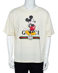 Gucci X Disney Cream Logo Printed Cotton Crewneck Oversized T-shirt - Multicolor