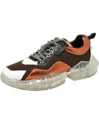 Jimmy Choo Multicolour Mesh And Leather Diamond Mix Trial Low Top Sneakers