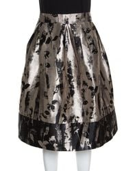 CH by Carolina Herrera - Silver And Black Floral Jacquard Pleated Skirt L - Lyst