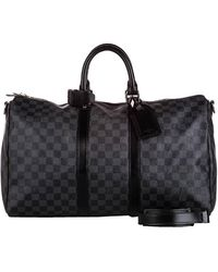Louis Vuitton Damier Graphite Canvas Keepall Bandouliere 55 Bag - Gray