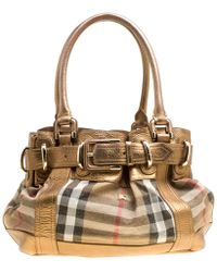 ebca9883b344 Burberry - Metallic Leather And House Check Fabric Bridle Tote - Lyst