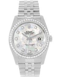 Rolex - Mop 18k Gold And Stainless Steel Diamond Datejust Men's Wristwatch 36mm - Lyst
