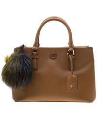 Tory Burch - Brown Leather Double Zip Robinson Tote - Lyst