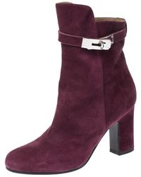 Hermès - Magenta Suede Joueuse Round Toe Ankle Boots - Lyst
