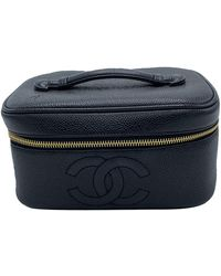 Chanel Black Leather Cc Vintage Vanity Bag