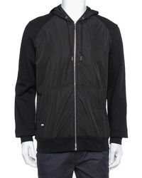 Dior Homme Black Cotton & Synthetic Panelled Hoodie