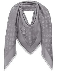 Louis Vuitton Charcoal Grey Monogram Shine Shawl - Gray