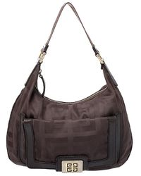 Givenchy Brown Signature Fabric And Leather Hobo