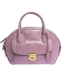 Ferragamo Lilac Python Medium Fiamma Satchel - Purple