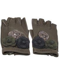 Chanel Military Green Leather Camellia Fingerless Gloves