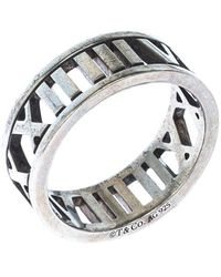 Tiffany & Co. Atlas Openwork Roman Numeral Silver Band Ring - Metallic