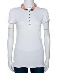 Burberry Brit White Cotton Checked Collar Polo T-shirt