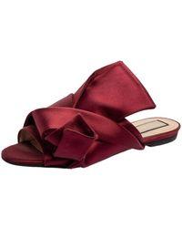 N°21 N°21 Burgundy Satin Knot Flat Mules - Red