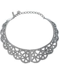 Oscar de la Renta Crystal Embellished Silver Tone Bib Necklace - Metallic