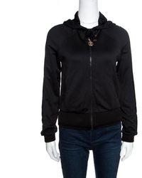 Roberto Cavalli Gym Black Knit Faux Leather Trim Hooded Sweatshirt