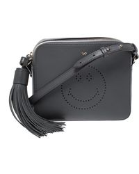 Anya Hindmarch Dark Gray Leather Smiley Crossbody Bag With Small Zip Around Wallet