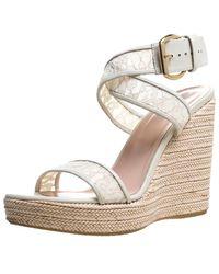Stuart Weitzman - White Lace Guipure Wedge Espadrille Sandals Size 38 - Lyst