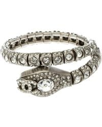 Chanel - Serpent Crystal Tone Double Coiled Bracelet - Lyst