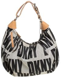 DKNY Grey/beige Signature Canvas And Leather Hobo