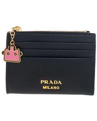 Prada Black Saffiano Lux Leather Zip Card Holder