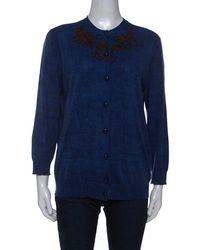 Louis Vuitton Blue Cotton Printed Cardigan
