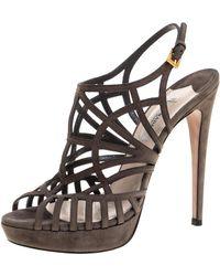 Prada Grey Suede Caged Peep Toe Platform Slingback Sandals