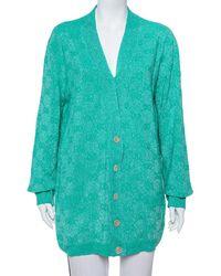 Gucci Green Logo Intarsia Lurex Wool Knit Cardigan