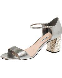 Miu Miu Silver Leather Crystal Embellished Block Heel Sandals - Metallic