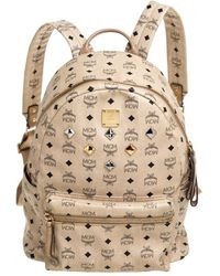 MCM Light Beige Visetos Coated Canvas And Leather Studded Stark Backpack - Natural