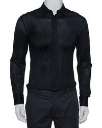 Emporio Armani Navy Blue Perforated Stretch Cotton Button Front Shirt