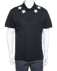 Givenchy Black Cotton Pique Star Embroidered Polo T Shirt
