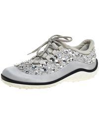 Miu Miu Gray Embellished Satin And Mesh Astro Sneakers - Metallic