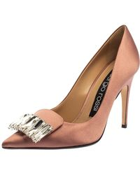 Sergio Rossi Pink Satin Crystal Embellished Court Shoes