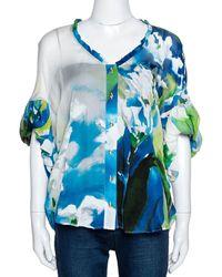 Roberto Cavalli Blue Printed Silk Gathered Sleeve Sheer Blouse