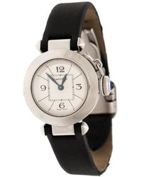 Cartier Silver Stainless Steel Pasha De 2973 Women's Wristwatch 27 Mm - Black
